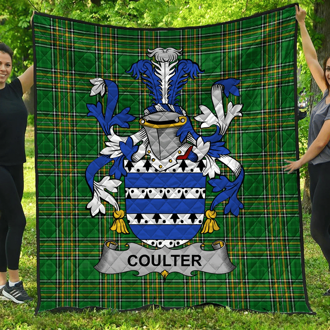 1stScotland Premium Quilt - Coulter Or O'Coulter Irish Family Crest Quilt - Irish National Tartan A7