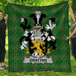 1stScotland Premium Quilt - Grattan Or Mcgrattan Irish Family Crest Quilt - Irish National Tartan A7