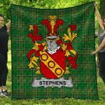 1stScotland Premium Quilt - Stephens Irish Family Crest Quilt - Irish National Tartan A7