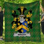 1stScotland Premium Quilt - Wright Irish Family Crest Quilt - Irish National Tartan A7