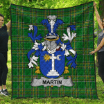 1stScotland Premium Quilt - Martin Irish Family Crest Quilt - Irish National Tartan A7