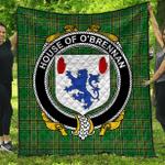 1stScotland Premium Quilt - House Of O'Brennan (Connacht) Irish Family Crest Quilt - Irish National Tartan A7