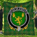 1stScotland Premium Quilt - House Of O'Keeffe Irish Family Crest Quilt - Irish National Tartan A7
