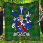 1stScotland Premium Quilt - Heyland Irish Family Crest Quilt - Irish National Tartan A7