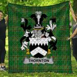 1stScotland Premium Quilt - Thornton Irish Family Crest Quilt - Irish National Tartan A7