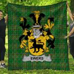 1stScotland Premium Quilt - Ewing Irish Family Crest Quilt - Irish National Tartan A7