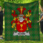 1stScotland Premium Quilt - Adams Irish Family Crest Quilt - Irish National Tartan A7