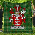 1stScotland Premium Quilt - Roche Irish Family Crest Quilt - Irish National Tartan A7