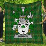 1stScotland Premium Quilt - Sharkey Or O'Sharkey Irish Family Crest Quilt - Irish National Tartan A7