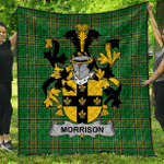 1stScotland Premium Quilt - Morrison Irish Family Crest Quilt - Irish National Tartan A7