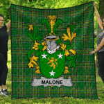 1stScotland Premium Quilt - Malone Or O'Malone Irish Family Crest Quilt - Irish National Tartan A7