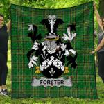 1stScotland Premium Quilt - Forster Irish Family Crest Quilt - Irish National Tartan A7