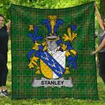 1stScotland Premium Quilt - Stanley Irish Family Crest Quilt - Irish National Tartan A7