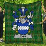1stScotland Premium Quilt - Vyan Irish Family Crest Quilt - Irish National Tartan A7