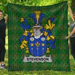 1stScotland Premium Quilt - Stevenson Irish Family Crest Quilt - Irish National Tartan A7