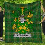 1stScotland Premium Quilt - Robinson Irish Family Crest Quilt - Irish National Tartan A7