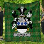 1stScotland Premium Quilt - Langley Irish Family Crest Quilt - Irish National Tartan A7