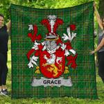 1stScotland Premium Quilt - Grace Irish Family Crest Quilt - Irish National Tartan A7