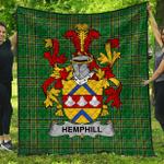 1stScotland Premium Quilt - Hemphill Irish Family Crest Quilt - Irish National Tartan A7
