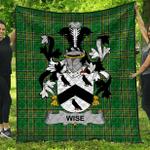 1stScotland Premium Quilt - Wise Irish Family Crest Quilt - Irish National Tartan A7