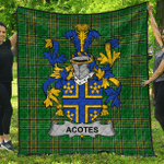 1stScotland Premium Quilt - Acotes Irish Family Crest Quilt - Irish National Tartan A7