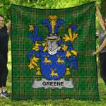 1stScotland Premium Quilt - Greene Irish Family Crest Quilt - Irish National Tartan A7