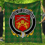 1stScotland Premium Quilt - House Of O'Brennan (Ossory) Irish Family Crest Quilt - Irish National Tartan A7