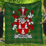 1stScotland Premium Quilt - Porter Irish Family Crest Quilt - Irish National Tartan A7