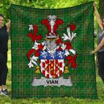 1stScotland Premium Quilt - Vian Irish Family Crest Quilt - Irish National Tartan A7