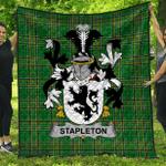 1stScotland Premium Quilt - Stapleton Irish Family Crest Quilt - Irish National Tartan A7