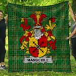 1stScotland Premium Quilt - Mandevile Irish Family Crest Quilt - Irish National Tartan A7