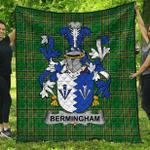 1stScotland Premium Quilt - Bermingham Irish Family Crest Quilt - Irish National Tartan A7