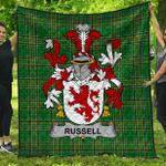 1stScotland Premium Quilt - Russell Irish Family Crest Quilt - Irish National Tartan A7