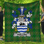 1stScotland Premium Quilt - Phillips Irish Family Crest Quilt - Irish National Tartan A7