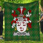 1stScotland Premium Quilt - Hunter Irish Family Crest Quilt - Irish National Tartan A7