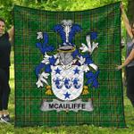 1stScotland Premium Quilt - Mcauliffe Irish Family Crest Quilt - Irish National Tartan A7