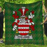 1stScotland Premium Quilt - Fitz-John Irish Family Crest Quilt - Irish National Tartan A7