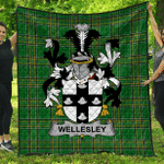 1stScotland Premium Quilt - Wellesley Irish Family Crest Quilt - Irish National Tartan A7