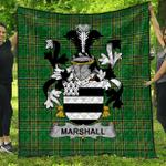 1stScotland Premium Quilt - Marshall Irish Family Crest Quilt - Irish National Tartan A7