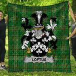 1stScotland Premium Quilt - Loftus Irish Family Crest Quilt - Irish National Tartan A7