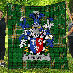 1stScotland Premium Quilt - Herbert Irish Family Crest Quilt - Irish National Tartan A7