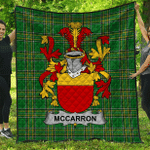1stScotland Premium Quilt - Mccarron Irish Family Crest Quilt - Irish National Tartan A7