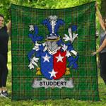 1stScotland Premium Quilt - Studdert Irish Family Crest Quilt - Irish National Tartan A7