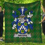 1stScotland Premium Quilt - Waters Irish Family Crest Quilt - Irish National Tartan A7