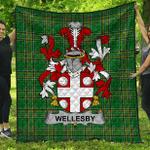 1stScotland Premium Quilt - Wellesby Irish Family Crest Quilt - Irish National Tartan A7