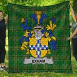 1stScotland Premium Quilt - Exham Irish Family Crest Quilt - Irish National Tartan A7