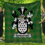 1stScotland Premium Quilt - Beresford Irish Family Crest Quilt - Irish National Tartan A7