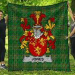 1stScotland Premium Quilt - Jones Irish Family Crest Quilt - Irish National Tartan A7