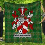 1stScotland Premium Quilt - Fitz-Stephens Irish Family Crest Quilt - Irish National Tartan A7