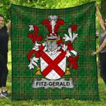 1stScotland Premium Quilt - Fitz-Gerald Irish Family Crest Quilt - Irish National Tartan A7